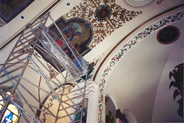 NYC cathedral, temple, synagogue restorations using Plaster Castings, New Plastering, Decorative Painting, Metallic plaster and Marmorino